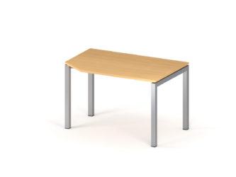 Kancelářský stůl, nepravidelný, 1200 x 800 mm, kovové nohy, stůl s výřezem, levý