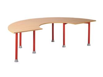 Pohádkový půlkruhový zahnutý stůl s kovovou konstrukcí