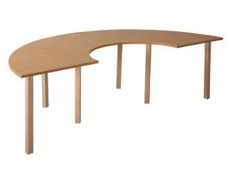 Pohádkový půlkruhový zahnutý stůl s dřevěnou konstrukcí