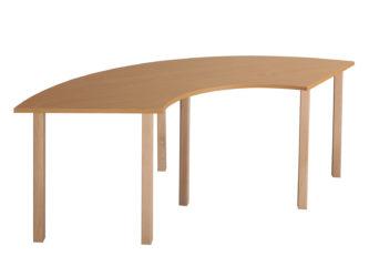 Pohádkový čtvrtkruhový zahnutý stůl s dřevěnou konstrukcí