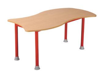 Pohádkový obdélníkový stůl vlna s kovovou konstrukcí