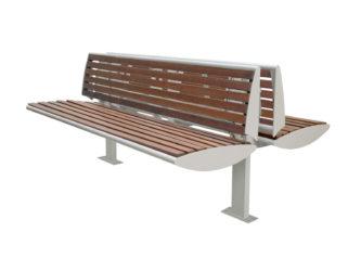 Central venkovní dvoustranná lavička s opěradlem