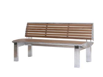Central venkovní trojmístná lavička s opěradlem