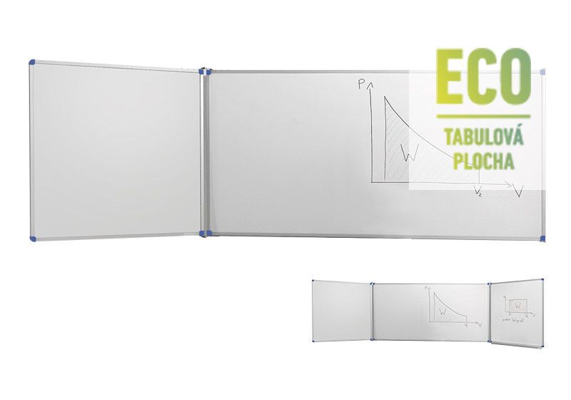 Klasické bílé nástěnné tabule ECO s postranními křídly