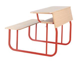 klasická školní laminovaná lavice, dvojmístná,ostré hrany