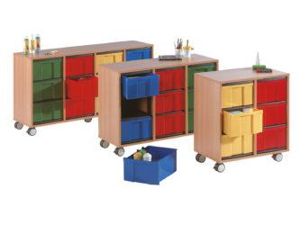 na kolečkách, 12 ks barevných krabic InBox ve velikosti