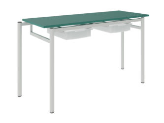 žákovský stůl, se dvěma zásuvkami, dekoritová deska s ostrými rohy