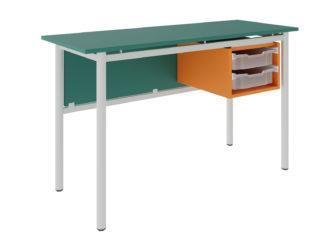 učitelský stůl se dvěma zásuvkami, dekoritová deska s ostrými rohy
