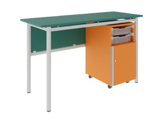 učitelský stůl se dvěma zásuvkami, 1× dvířka, dekoritová deska s ostrými rohy