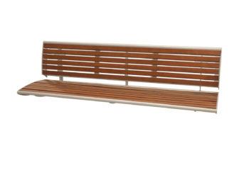 Central venkovní trojmístná lavička k připevnění na zeď, s opěradlem
