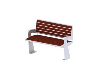 Central venkovní dvoumístná lavička s opěradlem