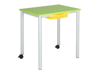 žákovský stůl, na kolečkách, laminovaná dřevotříska, deska s ostrými rohy