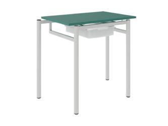 žákovský stůl, se zásuvkou, deska z laminované dřevotřísky s ostrými rohy