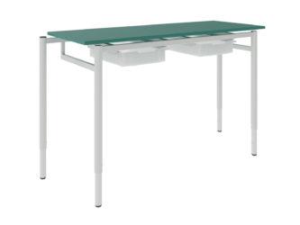 žákovský stůl se zásuvkou, dekoritová deska s ostrými rohy
