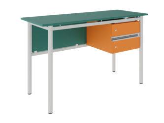 učitelský stůl se dvěma zásuvkami, deska z laminované dřevotřísky s ostrými rohy